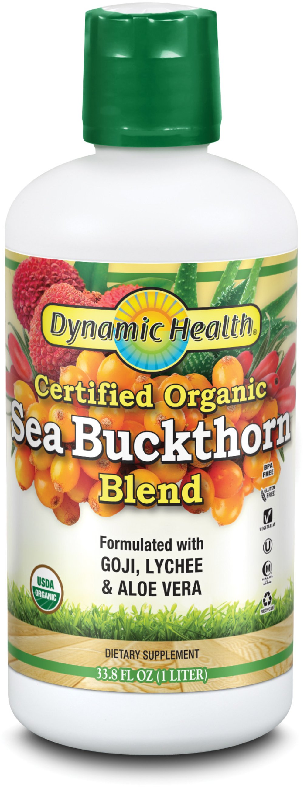 Organic Sea Buckthorn Juice Organic Certified Seabuckthorn fortified with Goji, Lychee+ Aloe Vera. The Seabuckthorn Berry flourishes in the mountainous and colder regions of China. <p></p><p>The Seabuckthorn berry is used traditionally to help promote healthy living. **</p><p>Manufactured by Dynamic Health Laboratories, Inc.</p> 32 oz Liquid  $16.99