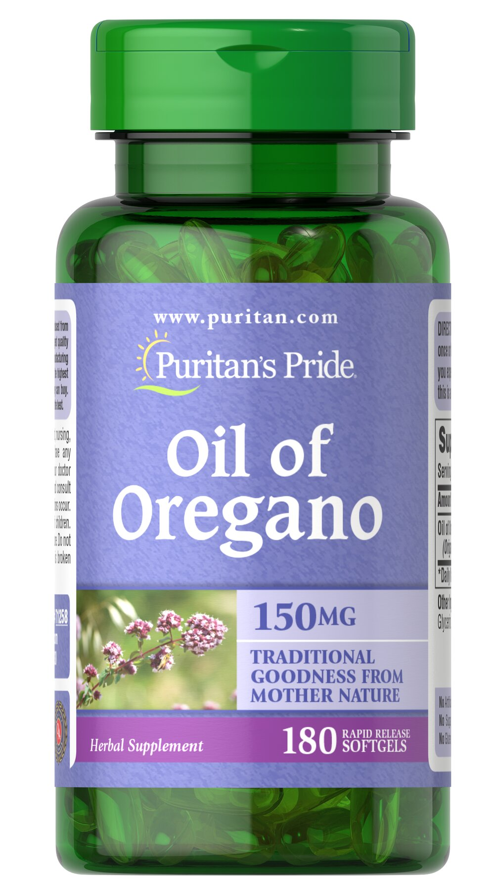 "Oil of Oregano Extract 1500 mg <p>Oil of Oregano equivalent to 1500 mg fresh oregano</p><p>Oil of Oregano has been held in high regard for its holistic qualities. It contains a number of valuable constituents and includes naturally occurring antioxidant phytochemicals.** Our high-quality softgels make it easy to obtain ""traditional goodness from Mother Nature."" </p>   180 Softgels 1500 mg $13.99"