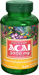 Triple Strength Acai 3000 mg <p>Unlock an exotic fountain of health and vitality with Acai!**</p><p>Contains natural flavonoids and antioxidants that help protect the body from cell damaging free radicals**</p><p>Antioxidants are an important line of defense against these rogue atoms and also help support and maintain immune system health**</p><p>3,000 mg Acai per serving (two softgels).</p> 240 Softgels 3000 mg $48.99