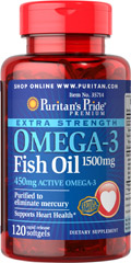 Extra Strength Omega-3 Fish Oil 1500 mg (450 mg Active Omega-3) <p><strong>Purified to Eliminate Mercury</strong></p><p>Super Potency 1500 mg  in one softgel!</p><p>Contains 450 mg of active Omega-3 per softgel.</p><p>Features fish oil in rapid-release softgels with enhanced potency and superior absorption.**</p> 120 Softgels 1500 mg $18.95