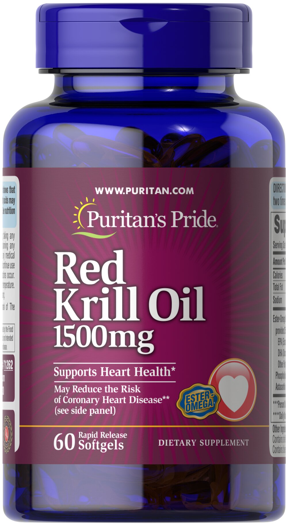 "Red Krill Oil 1500 mg <p><b>With Naturally Occurring Astaxanthin</b></p> <p>Supports a healthy heart.**</p><p>Provides you with Omega-3 fatty acids — the ""good"" fats important for cellular and metabolic health.**</p></p><p>Rapid Release softgels facilitate quick absorption.**</p> 60 Softgels 1500 mg $69.99"