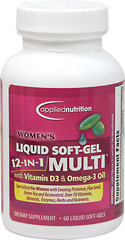 Women's Liquid Soft-Gel 12-in-1 Multivitamins <strong></strong><p><strong>From the Manufacturer's Label:</strong></p><p>Specialized for Women with Evening Primrose, Flax Seed, Green Tea and Resveratrol. Over 70 Vitamins, Minerals, Enzymes, Herbs and Nutrients.<br /></p><p>Women's Liquid Soft-Gel 12-in-1 Multi  is  Distributed by Applied Nutrition</p> 60 Softgels  $9.99