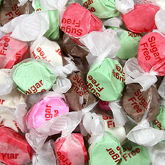 Sugar Free Salt Water Taffy The Sugar Free Version of an old time favorite. This delicious taffy in assorted flavors leaves out the sugar but none of the sweet taste.  Go ahead and dig in!<br /> 8 oz Bag  $9.99