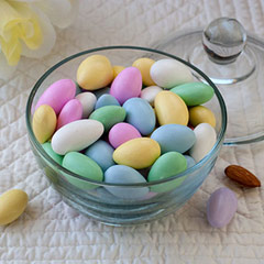 Assorted Pastel Jordan Almonds Take a delicious almonds and coat it with smooth sweet candy and you a tasty Jordan Almond. Perfect for party favors or centerpieces, Jordan almonds are more commonly known as the candy-coated wedding almonds. </p><p>Assorted Pastel Colors.   8 oz Bag  $7.99