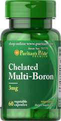 Multi-Boron 3 mg Chelate <p>Promotes bone health.**</p> <p>Provides a joint health nutrient.**</p> <p>Vegetarian and Vegan Formula.</p>  <p>Boron is a trace mineral that plays a role in Calcium metabolism to promote bone health.** It is also a nutrient for joint health.** This chelated version contains a combination of Boron Glycinate, Boron Citrate and Boron Aspartate to achieve 3 mg per serving of this important mineral. Vegetarian/Vegan formula. Inclu