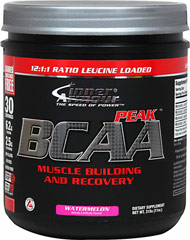 BCAA Peak Watermelon <p><strong>From the Manufacturer's Label:  </strong></p><p>The 3 BCAA's - Branched Chain Amino Acids</p><ul><li>Leucine</li><li>Isoleucine</li><li>Valine</li></ul><p>BCAA Peak is is muscle building and recovery in a delicious watermelon flavor.**</p><p>Manufactured by Inner Armour®.</p> 11 oz Powder  $27.99