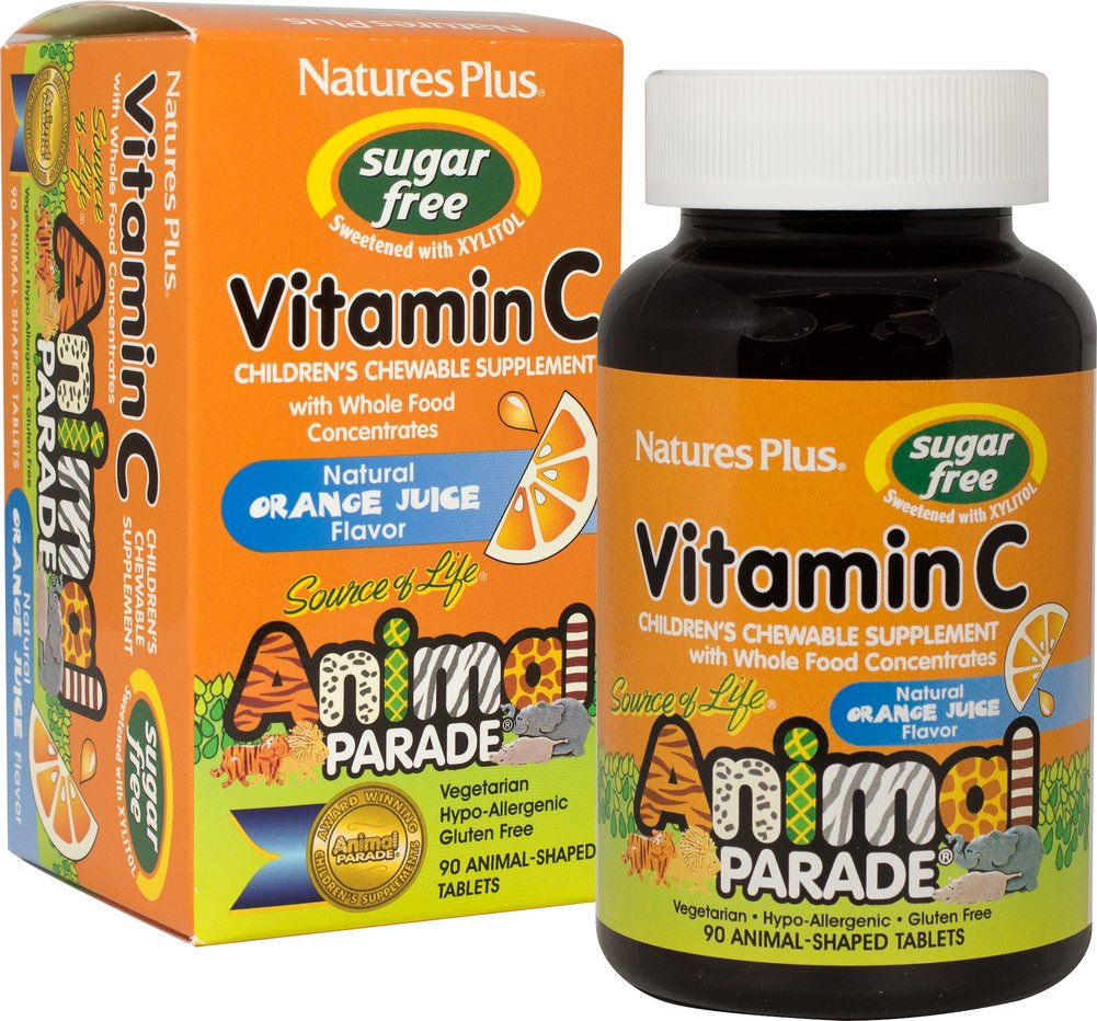 Vitamin C 250mg Chewables Sugar Free <strong></strong><p><strong>From the Manufacturer:</strong></p><p>Animal Parade Sugar Free Vitamin C is an orange juice-flavored chewable vitamin C formula made from whole food concentrates. </p><p>• With Whole Food Concentrates</p><p>• Sugar Free • Sweetened with XYLITOL</p><p>• Natural Orange Juice Flavor</p><p>• Vegetarian • Hypo-Allergenic • Gluten Free</p> 90