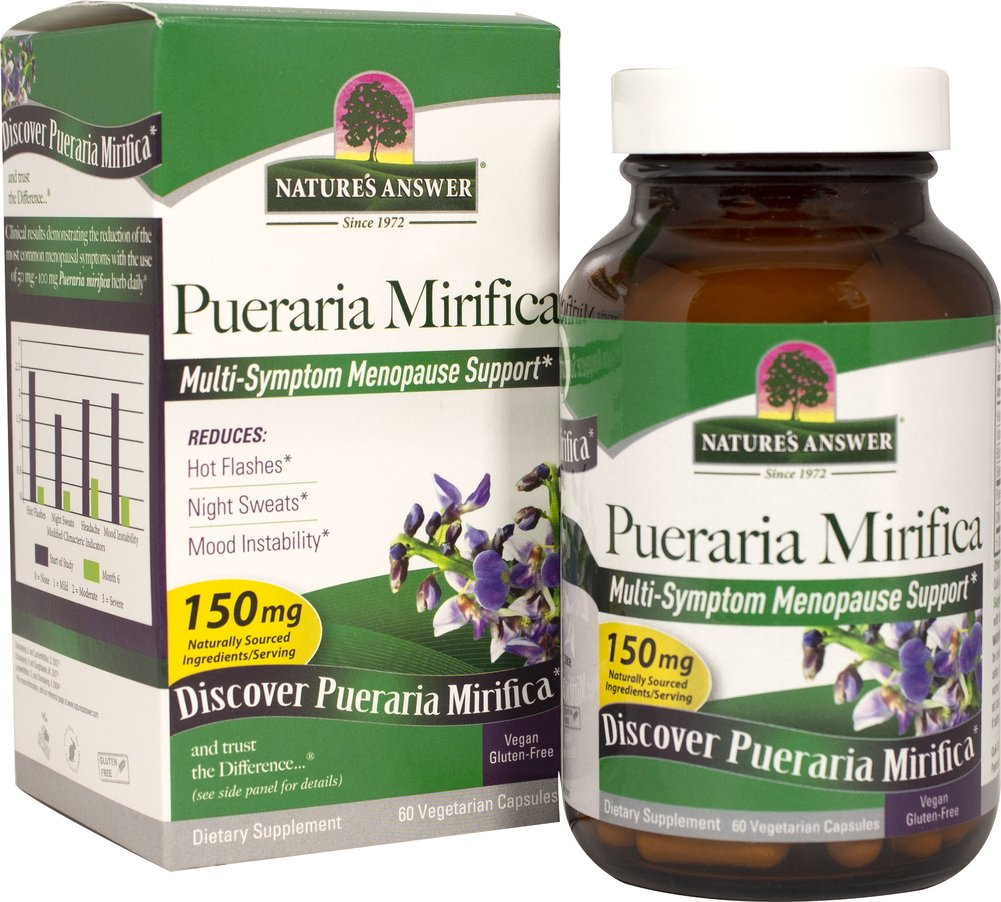 "Pueraria Mirifica <p><strong>From the Manufacturer's Label:</strong></p><p><span style=""font-family:Arial, Helvetica, sans-serif;font-size:14.3999996185303px;line-height:23.0399990081787px;"">Pueraria Mirifica Estro Balance with DIM from Nature's Answer is a natural women's health supplement delivered in vegetarian capsules. Pueraria Mirifica has been used traditionally in its native Thailand for centuries and modern science has now isolat"