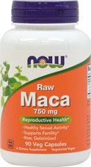 "Raw Maca 750 mg  <p><b>From the Manufacturer's Label:</b></p>  <p><b>6:1 Concentrate</b></p> <p><b>Naturally Grown</b></p> <p><b>""Gelatinized"" </b></p> <p><b>100% Vegetarian</b></p>  <p>Maca (Lepidium meyenii) is grown at high elevations in the Andes region of central Peru. It has been used for centuries by indigenous Peruvians as a food source, as well as for increas"