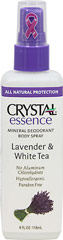 Crystal® Lavender & White Tea Mineral Deodorant Spray <p><strong>From the Manufacturer's Label:</strong></p><p>No Aluminum Chlorohydrate</p><p>Paraben Free</p><p>Hypoallergenic</p><p><strong>Natural Deodorant Protection</strong></p><p>Crystal essence™ Lavender & White Tea, made of natural mineral salts and infused with the relaxing aromas of lavender and white tea, creates an invisible