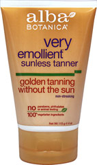 Alba Natural Very Emollient Sunless Tanning Lotion <p><strong>From the Manufacturer's Label:</strong></p><p><strong>Golden Tanning Without the Sun</strong></p><p><strong>Natural Formula</strong></p><p><strong>Non-streaking</strong></p><p>Very emollient and botanically moisturizing natural sunless tanner. Easy to use, non-streaking formula absorbs quickly for a natural-looking tan in less than 3