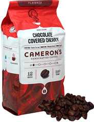 Chocolate Covered Cherry Whole Bean Coffee <p><strong>From the Manufacturer's Label:</strong></p><p>A delicious combination that makes your palate happy and your mouth water. Creamy chocolate draped over red ripe cherries. Tastes like the real deal! Arabica beans are carefully selected, precisely blended and roasted in small batches, and brought directly to you for the purest, freshest flavor.</p> 12 oz Bag  $15.99