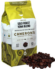 Gold Roast® Kona Blend Whole Bean Coffee <p><strong>From the Manufacturer's Label:</strong></p><p>Kona Blend coffee is an effortlessly smooth, daringly delicious cup of coffee. When it comes to premium quality coffee, it's all about the bean. Our flavorful Arabica beans are precisely blended and meticulously roasted – you'll taste the freshness in every cup!</p> 10 oz Bag  $15.99