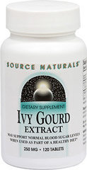 Ivy Gourd Extract 250 mg <p><strong>From the Manufacturer's Label:</strong></p><p>May Support Normal Blood Sugar Levels When Used As Part of a Healthy Diet**</p><p><strong></strong></p><p><strong></strong></p><p>Manufactured by Source Naturals.</p> 120 Tablets 250 mg $8.99