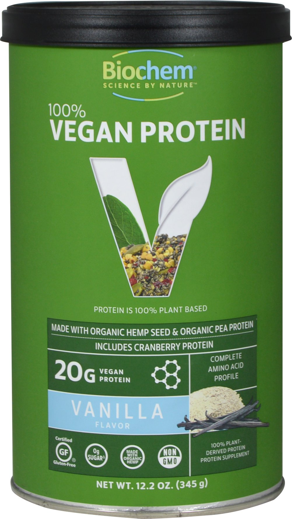 Vegan Protein Powder Vanilla <p><strong>From the Manufacturer's Label</strong></p><p>Lactose Free</p><p>Totally Vegan</p><p>Wheat & Gluten Free</p><p>Excellent Source of Protein</p><p></p><p>100% Vegan Protein Facts:</p><p>- Contains isolated, highly digestible pea protein, organic hemp protein, and cranberry protein.</p><p>- Pea protein is rich in amino acids such as L-L