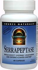 Serrapeptase <strong></strong><p><strong>From the Manufacturer's Label: </strong></p><p>Serrapeptase is Manufactured by Source Naturals.</p> 60 Capsules  $11.49