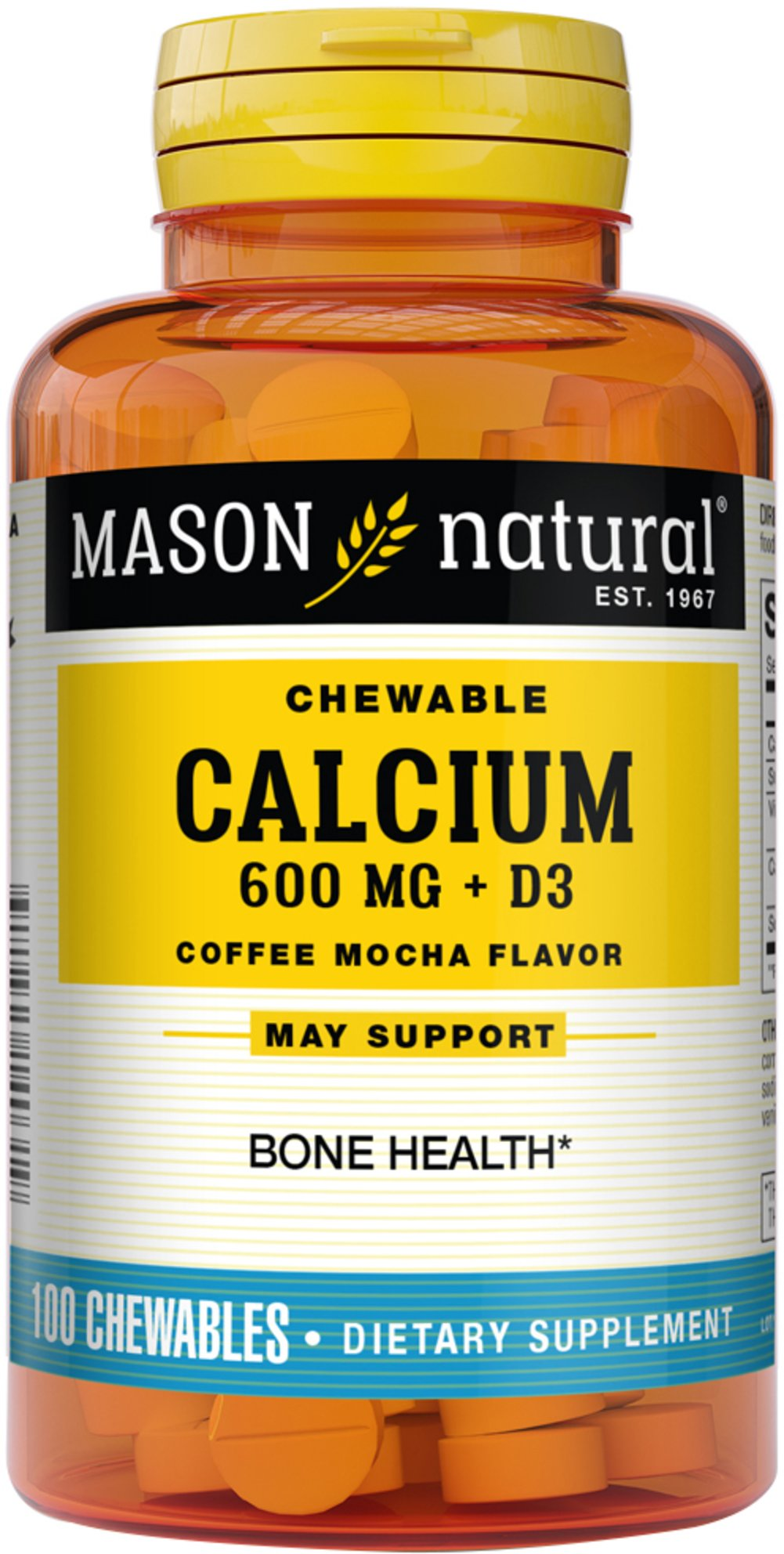 Chewable Calcium 600 plus D3 <b><p>From the manufacturer's label:</b></p> <p>Mason Chewable Super Calcium contains  600mg of Calcium and  +  400iu of Vitamin D3.</p> <p>Coffee Mocha Flavor.</p> 100 Chewables 600 mg/400 IU $5.99