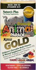 Animal® Parade Gold Multivitamins & Mineral <b><p>From the Manufacturer's Label:</b></p> <p>Nature's Plus Animal Parade Gold Children's Chewable multivitamins & Mineral Supplement contains vitamin D3, probiotics and organic gold standard whole foods.  Natural assorted cherry, orange and grape flavors.  Vegetarian Gluten Free and Hyp-Allergenic.</p> 60 Chewables  $10.49