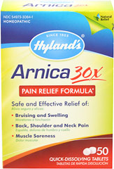 Arnica 30X <p><strong>From the Manufacturer's Label: </strong></p><p>The tablets dissolve quickly in the mouth and treat a wide range of injuries, including joint & muscle soreness, bruising and swelling, stiffness, back ache, fatigue and inflammation.</p><p>- Homeopathic</p><p>- Natural pain relief</p><p>- Quick-dissolving tablets</p> 50 Tablets  $5.99