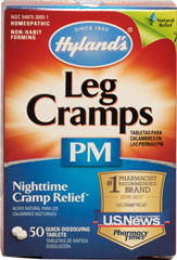 Nightime Leg Cramps Pm With Quinine <p><b>From the Manufacturer's Label: </p></b><p>Hyland's Leg Cramps PM relieves pain and cramps in lower body, legs, feet and toes with accompanying nighttime sleeplessness.</p> <p>• 100% natural, gentle, safe and effective</p> <p>• No Aspirin, Acetaminophen, Ibuprofen, Naproxen or Diphenhydramine</p> <p>• Quick dissolving tablets that work fast</p> 50 Tablets  $8.49