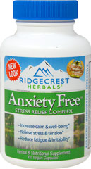 Anxiety Free <strong></strong><p><strong>From the Manufacturer:</strong></p><p>Anxiety Free is a powerful formula to help manage stress and anxiety. The ingredients in Anxiety Free have been shown to help increase general feelings of well-being, increase resistance to fatigue, stress and tension, and counteract the effects of stress.</p><p>Manufactured by Ridgecrest Herbals</p><p></p> 60 Vegi Caps  $22.49