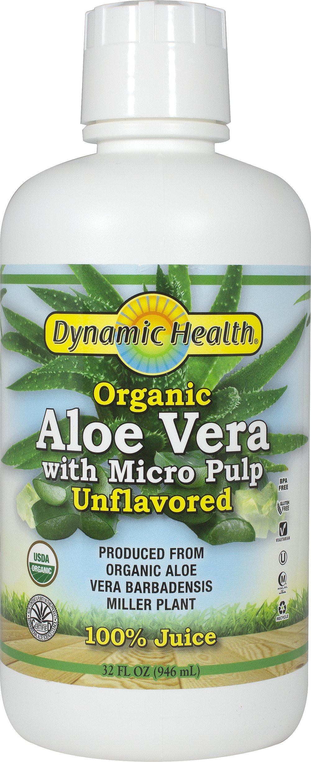Organic Aloe Vera Juice W/ Micro Pulp Unflavored <strong></strong><p><strong>From the Manufacturer: </strong></p><p>Organic Aloe Vera Juice with Micro Pulp, produced from Organic Aloe Barbadensis Miller plants.</p><p>• Contains essential bioactive ingredients such as Polysaccharides.</p><p>• Natural source for:  Vitamins, Amino Acids, Enzymes, Minerals & Trace Elements</p> 32 oz Liquid  $6.49