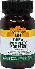DHEA Complex For Men <p><strong></strong><strong>From the Manufacturer's Label</strong>:<br /></p><ul><li>Supports graceful aging**</li><li>Includes ayurvedic herbs**</li><li>Gluten Free</li></ul><p>DHEA levels decline with age. This product has been formulated for men, and includes herbs such as moomiyo and puncture vine extract.<br /><br />Manufactured by Country Life</p><p&