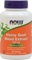 Horny Goat Weed 750 mg <p><strong>From the Manufacturer's Label:</strong></p><p>Suitable for Men and Women</p><p>Plus 150 mg of Maca Root</p><p>Horny Goat Weed (Epimedium) is an ornamental plant that also has a long history of traditional use in Chinese herbalism. NOW® Horny goat Weed Extract is standardized to 10% Icariins and is combined with Maca, another vitality herb. </p><p>Manufactured by Now® Foods.</p>