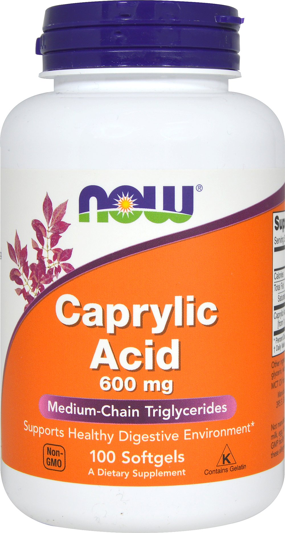 Caprylic Acid 600 mg <p>From the Manufacturer's Label:</p><p>NOW Caprylic Acid is a naturally derived nutrient used to support internal wellness.  Also known as octanooic acid, Caprylic Acid is a short-to-medium chain fatty acid (MCT) that is naturally found in coconut and palm kernel oil.</p><p>Manufactured by NOW® Foods</p> 100 Softgels 600 mg $8.99