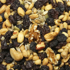 Deluxe Raisin Nut Trail Mix GORP--is an ole' stand by--Good Old Fashioned Raisins and Peanuts. Trail mix made of the following yummy ingredients: </p> <p>Raisins, Sunflower Seeds, Peanuts, Soynuts, Walnuts, Cashews, and Shelled Pumpkin Seeds.  12 oz Container  $9.99