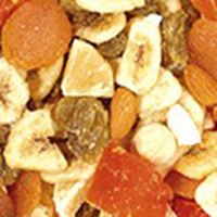 Hawaiian Aloha Mix A tropical blend of refreshing flavors. Taste the sweetness of golden raisins, apricots, filberts, banana chips, coconut, and macadamia nuts.  12 oz Container  $9.99
