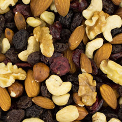 Nature's Finest Health Mix Nature's finest health trail mix is an amazing combination of  delicious nuts and dried fruit. This health mix is a combination of black raisins, cranberries, almonds, cashews, walnuts, filberts & walnuts. 12 oz Container  $9.99