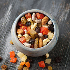 Lite Life Trail Mix A light and delicious combination of pineapple, mango, apricots, apples, chopped dates, raisins, and natural almonds. A customer favorite! 8 oz Bag  $7.99