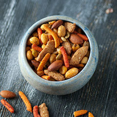 Blazing BBQ Trail Mix BBQ snack Trail Mix with a punch! Combination of BBQ peanuts, BBQ almonds, BBQ sesame sticks, corn nuts, BBQ pepitas, and spicy churritos. Knock it back with a cold beverage and enjoy! 8 oz Bag  $7.99