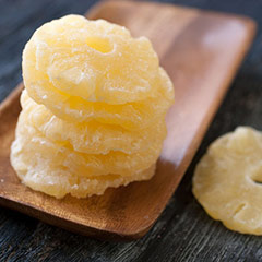 Pineapple Rings Sweetened pineapple cut into cored rings. These are a delicious, energizing, tropical snack. 8 oz Bag  $5.39