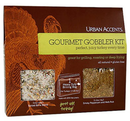 Gourmet Gobbler Complete Turkey Brine and Rub Kit <p><strong>From the Manufacturer's Label</strong>:</p><p>Brining is the chef's secret to juicy poultry. This all-in-one kit includes a 12oz spiced brine blend, 1 heavy duty brine bag for turkeys up to 24 pounds, and .75oz of a smoky peppercorn and herb rub.  A perfect, juicy turkey every time!</p><ul><li>Gluten-Free</li><li>All Natural</li></ul> 1 Kit  $9.59