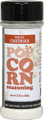 Popcorn Seasoning White Cheddar <b><p>From the Manufacturer's Label:</b></p> <p>For maximum munchability... add this all-natural cheese topping to your freshly-made popcorn!    Sprinkle White Cheddar All-Natural Popcorn Seasoning onto freshly popped popcorn, as desired . For microwave popcorn: after popping, sprinkle desired amount of popcorn into bag and reheat for 5 seconds.</p>   2.25 oz Seasoning  $3.99