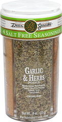 Salt Free Seasonings Combo Jar <b><p>From the manufacturer's Label:</b></p> <p>Dean Jacob's Salt Free Seasonings offer delightfully distinctive zesty flavors in four all natural blends. No salt and no MSG, just terrific flavors for general recipe use in every kitchen. Use on salads, vegetables, sandwiches, soups, stews or casseroles.</p> <p>Spicy Garlic, Garlic & Herbs, Spices & Herbs and Lemon & Herbs.</p> 3.9 oz Jar  $4.49