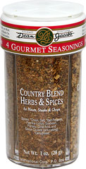 Gourmet Seasonings Combo Jar <b><p>From the manufacturer's Label:</b></p> <p>Dean Jacob's Gourmet Seasonings Jar gives four distinctive flavors to chicken, seafood, roasts, steaks, chops and ground meat.  Ideal for flavoring broiled and pan friend meats. Innovative and interesting mixes of flavors for all palates.</p>   <p>Country Blend Herbs and Spices, Garlic Pepper & Herbs, Lemon Pepper & Herbs, Char-Broil Spices and Herbs.</p> 4