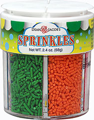 Sprinkles Jar <strong></strong><p>Sprinkles are fun and festive toppings for your cookies, cakes and cupcakes.  This six sprinkle container gives a variety of decorating options:  Pink, Orange, Red, Green, Yellow, and Blue.<br /></p> 2.4 oz Jar  $2.99