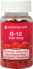 Vitamin B-12 Adult Gummy <strong></strong><p><strong>From the Manufacturer's Label:</strong></p><p>Nutrition Now Vitamin B-12 adult gummy vitamins  contain 500mcg per serving.  Natural raspberry flavor.</p> 100 Gummies 250 mcg $5.99
