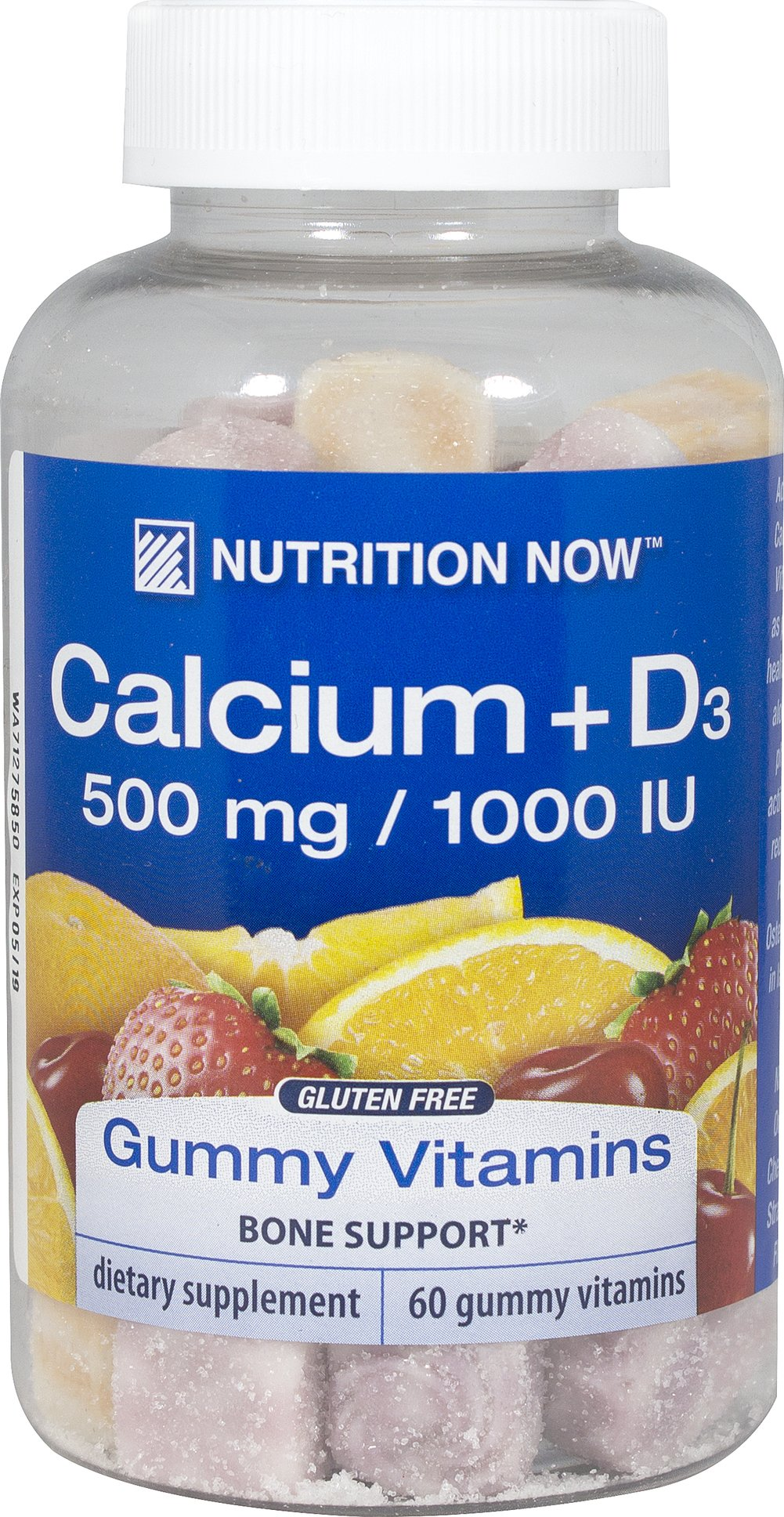 Calcium Gummy Vitamins <b><p>From the Manufacturer's Label:</b></p> <p>Nutrition Now Calcium Gummy Vitamins for adults with Vitamin D contains as much calcium as two 6oz glasses of milk in each serving.  Naturally Flavored orange, cherry and strawberry gummy vitamins.</p> 60 Gummies