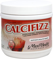 CALCIFIZZ <strong></strong><p><strong>From the manufacturer's label:</strong></p><p>Maxi Health® CALCIFIZZ™  is an effervescent powdered form of calcium citrate with vitamin D3.   Naturally flavored and Certified Kosher.</p> 8.5 oz Effervescent  $13.34