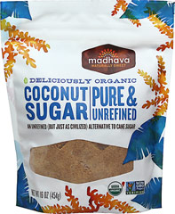 Organic Coconut Sugar <p><strong>From the Manufacturer's Label:  </strong></p><p><strong>An Unrefined Alternative to Cane Sugar</strong></p><p><strong>Granulated Coconut Nectar</strong></p><p>Madhava Coconut Sugar is an unrefined sweetener produced from the flower buds of the coconut tree. Our Coconut Sugar is grown sustainably in Indonesia and is an all-natural alternative to processed sugar and artificial sweeten