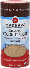 Organic Coconut Sugar Blonde Shaker <p><b>From the Manufacturer's Label:  </b></p> <p><b>Mild and Sweet Flavor</b></p> <p><b>An Unrefined Alternative to Cane Sugar</b></p> <p><b>Granulated Coconut Nectar</b></p> <p><b>Ideal for Beverages & Desserts</b></p> <p><b>Organic, Sustainably Grown & Harvested</b></p>  <p>Madhava Blonde Coconut S