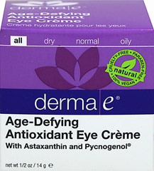 Derma E® Age-Defying Eye Cream with Astaxanthin & Pycnogenol <p><strong>From the Manufacturer's Label:</strong></p><p>Derma E® Age-Defying Eye Cream with Astaxanthin & Pycnogenol is cruelty-free, paraben-free and eco-friendly.  </p> 0.5 oz Cream  $17.49