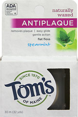 Tom's of Maine™ AntiPlaque Spearmint Flat Floss <p><strong>From the Manufacturer's Label:</strong></p><p>Tom's of Maine™ AntiPlaque Spearmint Flat Floss is manufactured by Tom's of Maine™.</p> 32 yards Pack  $3.19