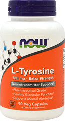 L-Tyrosine 750 mg <p><b>From the Manufacturer's Label:</b></p> <p>L-Tyrosine 750 mg is manufactured by NOW® Foods.</p> 90 Capsules 750 mg $8.99