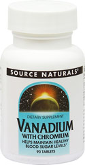 Vanadium 1 mg with Chromium GTF 200 mcg <p><strong>From the Manufacturer's Label:</strong></p><p>Vanadium 1 mg with Chromium GTF 200 mcg is manufactured by Source Naturals.</p> 90 Tablets 1 mg $5.99