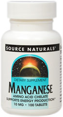 Manganese 15 mg Chelate <p><b>From the Manufacturer's Label:</b></p> <p>Chelated Manganese 15 mg is manufactured by Source Naturals</p> 100 Tablets 15 mg